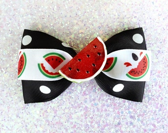 Rockabilly Sparkly Watermelon Wonderland and Polka Dot Hair Bow - Black - Retro - 50s