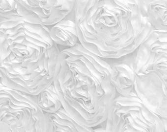 Fabulous White Satin Rosette Fabric 3D by the yard