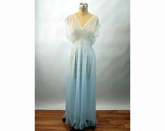 1950s nightgown sheer nylon lace ice blue Size 36 Size M/L Sans Souci