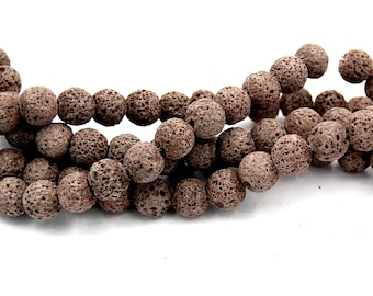 Coffee Brown Lava Rock Round 10mm Natural Lava Stone Beads -15.5 inch