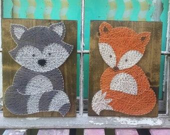 Forest Friends String Art, Woodland Animal Wall Art, Fox Nursery Art, Fox Baby Shower Gift, Custom Made Nursery Art, Woodland Nursery Decor