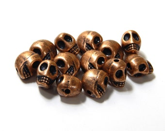 Copper Skull Beads, 4pcs, Copper Sugar Skulls, 12 x 9mm, Day of the Dead, Dia de los Muertos, Destash
