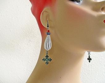 Black and White Earrings, Striped Earrings, Burlesque Earrings, Dangle Earrings, Celtic Cross, Circus Jewelry, Handmade