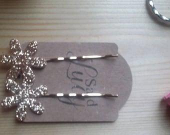 Gold glitter flower rose gold bobby pins hair clips