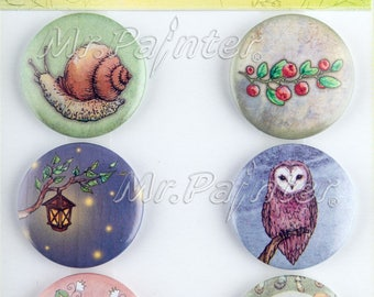 6 flair buttons enchantered forest fairytales