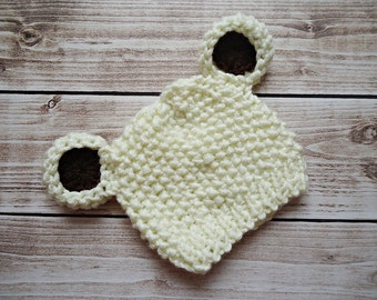 Crochet teddy bear Hat, Newborn bear hat, Baby teddy bear hat, Ecru teddy bear hat