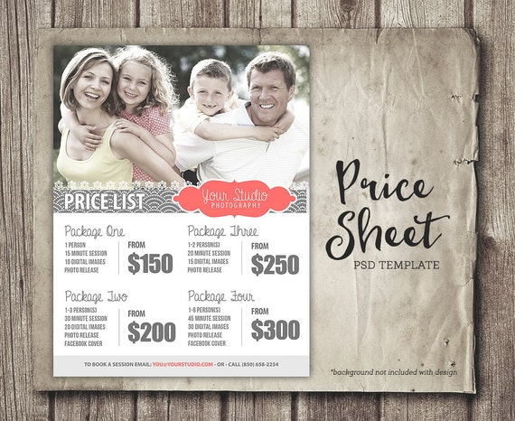 Price Sheet Template - Photography Price List - Marketing ...