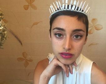 Handgemachte Süßwasser Perlen Tiara Kopfschmuck. Hochzeit Braut oder Rennen Krone