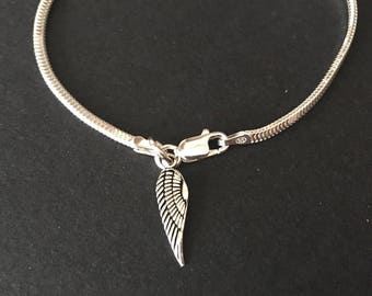 925 Silver Angel Wing Bracelet, Sterling Silver Angel Wing Charm Bracelet, Jewellery Gift, 925 Silver Jewelry, Mothers Day Gift for Mum