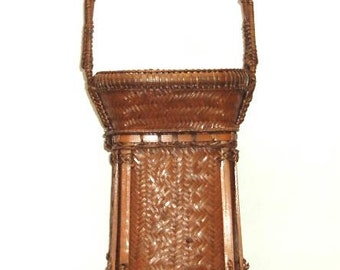 """VINTAGE hilltribe carrying BASKET THAILAND-excellent condition-tightly woven detailed pattern and trim, Southeast Asia, folk art,15 1/2""""high"""