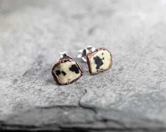 Stone Post Earrings - Sterling Silver Studs - Dalmation Jasper Earrings - Simple Stone Earrings