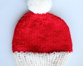 Christmas hat, santa hat, hat santa, santa red white hat, holiday hat, hat knitted, knit hat pom, pom hat knit santa, santa beanie