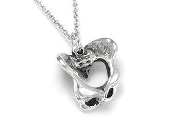 Sterling Silver Pelvis Bone Pendant Necklace
