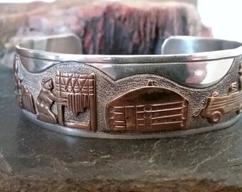 Native American Jewelry/Jacob Kahe Navajo Vintage Sterling Silver Storyteller Bracelet Native American Jewelry