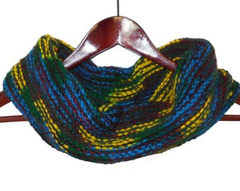 Dark Rainbow Cowl - 100% Wool - Hand Dyed