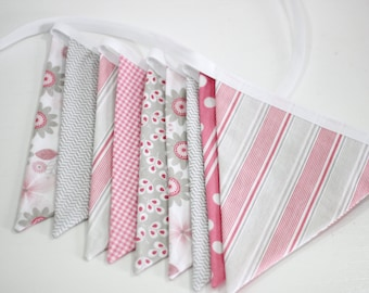 Pink and gray fabric bunting, baby girl nursery decor, baby shower decoration, photo prop, Willow by Riley Blake