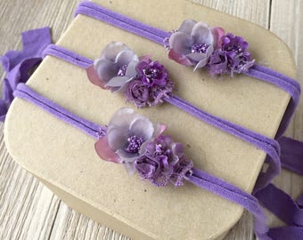 Purple Violet Jersey Knit Tieback Headband for Baby Girl - Newborn, Baby, Toddler, Child - Ready to Ship