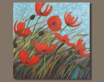 abstract poppy painting, red poppies, orange flowers, square, 12x12 inches, poppy painting, poppy field, floral triptych, field of poppies