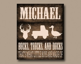 DEER nursery wall art, Bucks Trucks Ducks, personalized name print, camo gift, deer nursery art, Boy Gift CANVAS or Print