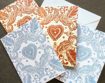 Blank lino cut gift cards pack of four