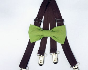 Green bow tie, Bow tie suspender set, Brown suspenders, baby suspender set, kids suspenders, boys bow tie, wedding outfit, ring bearer, bow
