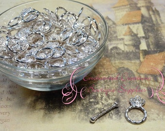 Silver Enchanted Crown and Scepter Toggle Clasps