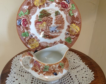 Vintage Enoch Woods English Scenery Woods Ware Creamer Pitcher and Plate Brown Multi Colored transferware
