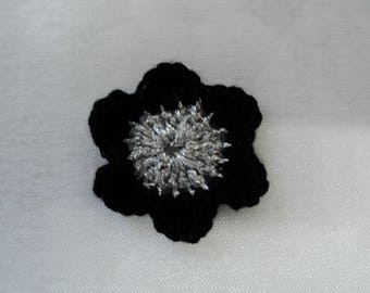 10 flowers for SCRAPBOOKING cotton CROCHET black and silver