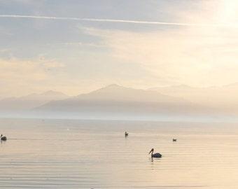 Landscape Photography, Salton Sea Lake Photography, Bird Photography, Nature Photography, Travel Photography,Twilight Photo Print,Lake Photo