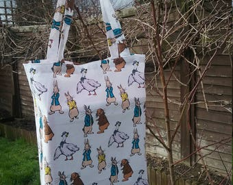 "Peter Rabbit themed Fabric Tote Bag in White, Easter Egg Hunt, 10"" by 12"""