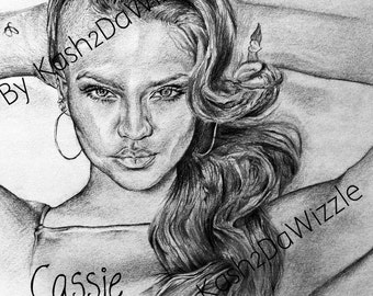 Cassie #drawing in black and white #art #sketch #cassie #music #rnb #portrait