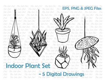 Indoor Plants Line Drawing Set - Aloe, Airplant, Jade, hanging planters, Jellyfish - EPS, PNG, JPG - Digital Vector Image