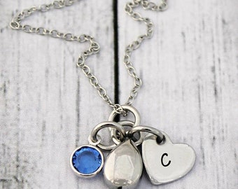 Cremation Urn Necklace - Teardrop -  Ashes Pendant - Sympathy Gift - Memorial Jewelry-Tear drop Urn Jewelry-Initial-Birthstone-Memorial Gift
