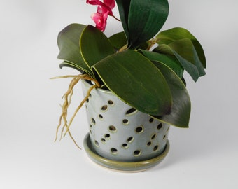 Ceramic orchid pot - orchid cachepot - pottery orchid pot - blue orchid pot - orchid planter  V204