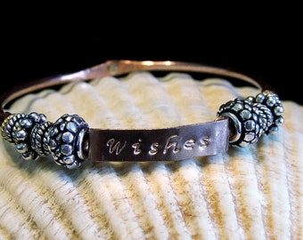 Handmade Copper Rustic Charm Wishes Bangle Bracelet