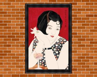 Kobayakawa Kiyoshi Poster, Printable Japanese Woodblock Print, Tipsy, Japanese Woman Drinking, Ukiyo-e Artist, Printable Home Decor, Showa