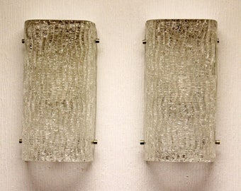 Mid Century Modern Pair of Textured Glass Hanging Wall Sconces Mazzegga