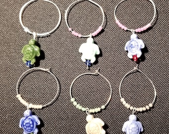 Set of 6 Turtle Wine Glass Charms