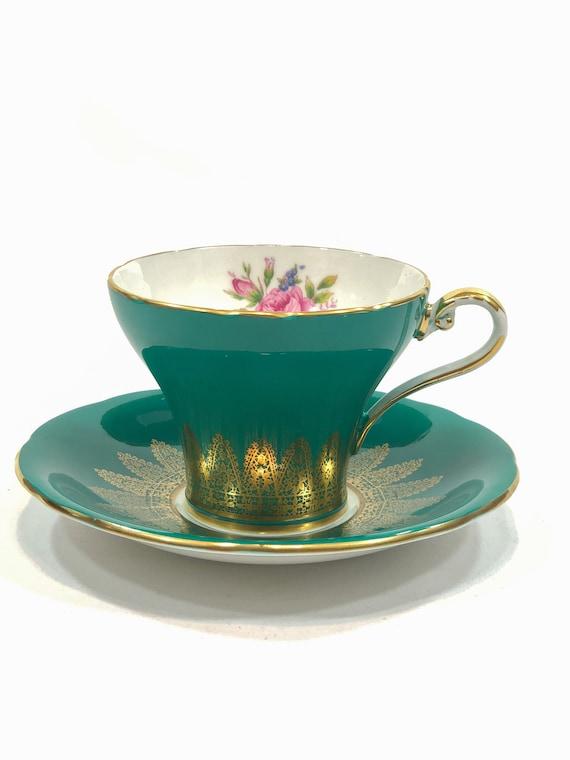 Aynsley Tea Cup, Deep Teal Corset Cup, Gilded Foliate Motif, Pink Rose Flower, Vintage English Teacup, Tea Garden Party, Fine Bone China