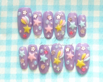 Long nails, pastel nail, star nail, sweet lolita, lolita accesory, shooting star, Japanese nail art, kawaii nails, cute nails, party nail