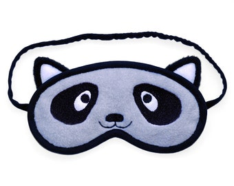 Racoon Sleep Mask, Animal eye mask, Racoon blindfold, Cosplay costume kawaii bandit sleeping eyemask, Cotton or silk satin back gift for her
