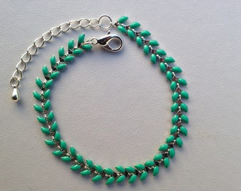 Silver 1 micron - clasp and chain, plated 1 micron silver plated bracelet chain double-sided, color MINT enamel ears,
