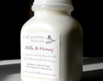 Milk and Honey Bath Soak with Skin Softening Buttermilk and Real Honey Powder - Gentle for Sensitive Skin - Sample Size