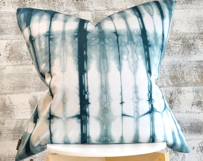 Shibori Pillow Cover 26x26 inches - Peacock