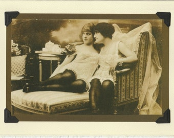 An Intimate Tea: Vintage LGBTQIA+ Card - girlfriends card, lesbian bachelorette, newlywed wives in honeymoon lingerie, vintage lesbian photo