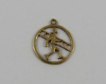 Chimney Sweep 14K Gold Vintage Charm For Bracelet