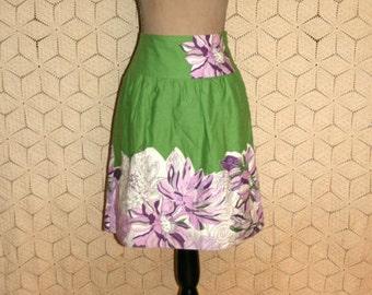 Cotton Skirt Women Small Midi Green Purple Floral Print Full Skirt Spring Skirt Summer Skirt Casual Ann Taylor Size 4 Skirt Womens Clothing