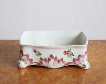 Vintage Herend Porcelain Pink Floral Trinket Footed Box w/ 24k Trim