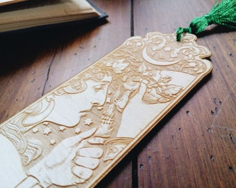 ART NOUVEAU Wood BOOKMARK - Witch Folk Tales Book Lovers Gift Wicca Pagan Lover Stars Moon Reader Witch laser engraving Bohemian Stationery