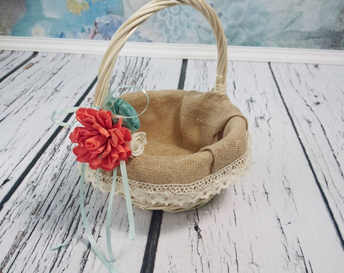 Flower girl basket burlap lace coral mint beach sola flower cream ivory rustic woodland summer spring wedding sola roses vintage custom
